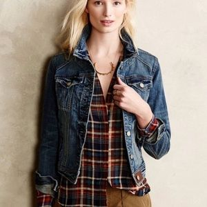 Anthropologie Pilcro Denim Jacket Size L leather